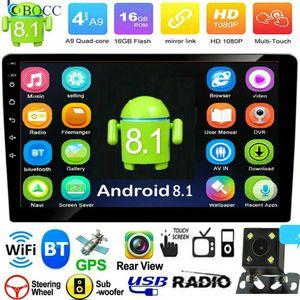 Autoradio 2Din Quad Core Android 8.1 10.1in Car Stereo MP5 FM Radio GPS Navi WiFi BT + Cam