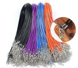 Cire Cuir Serpent Collier 1,5 mm de diamètre Longueur 45CM cordon cordes corde fil Extender chaîne avec mousqueton bricolage accessoires bijoux à la mode