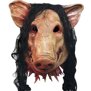 Halloween Scary Masks Novelty Pig Head Horror With Hair Realistic Latex Halloween Cosplay Costume Festival pARTY Supplies Mask