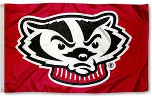 Wisconsin Badgers mascotte Bandiera 3x5Ft con cuciture doppie 90x150cm Sport regalo di festival Poliestere Decorazione digitale stampato in magazzino