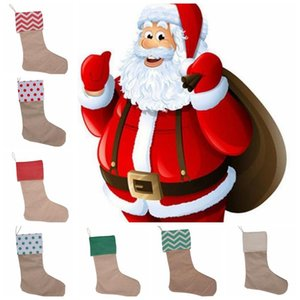 Noel Süsleri Canvas çorap Çorap Hediye Çanta Çorap 30 * 45cm yılbaşı ağacı süsleme Çorap Noel çorap GGA664 50pcsN 7styles