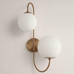 Modern İskandinav Cam Meta siyah / altın top Retro Vintage Duvar lambası E27 Loft cafe yatak odası fuaye için