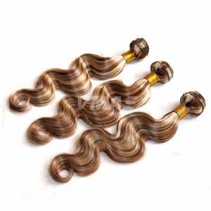 La extensión del pelo VMAE la onda del cuerpo humano de la Virgen Ombre color marrón claro humana brasileña del piano de pelo color # 8/613 tejidos de pelo humano VMAE