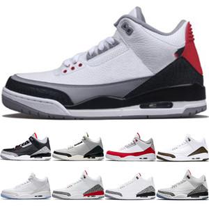 Nike Jordan Air Retro 3 3s Мужские баскетбольные кроссовкиTinker Mocha Katrina JTH NRG Черный Цемент Чистый белый Линия свободного броска Спортивные кроссовки с изображением корейской спортивной обуви