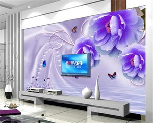 3d обои Гостиная Фиолетовый Цветы Нежные Открытие бабочки Полет на заказ 3d Romantic шелковые обои