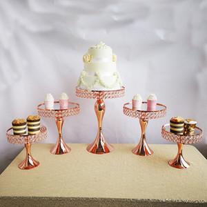 5pcs  set rose gold cake stand set mirror cupcake wedding Desktop decoration