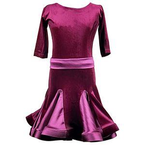Slim Latin Dress Pour Filles Rouge Velours Couture Ballroom Dancing Dresses Robes Enfants Tango Samba Cha Cha Pratique Danse Vêtements DC1460