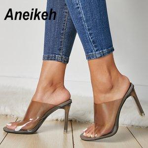 Aneikeh 2019 Sommer Hot Transparent PVC Frauen Sandalen Offene spitze Klarem Kristall High Heels Slip On Sandalen Kleid Damen ShoeMX190824