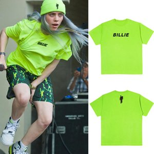 Moda para mujer para hombre Billie Eilish Streetwear Camisetas fluorescente verde tes de las tapas blusas de manga corta femenina del verano masculino