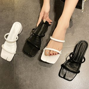 2020 Summer New Women Slippers Square Head Open Toe Female Sandals Ladies Flat Casual Slides Beach Shoes Lady Flip Flops
