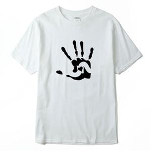 Mão Do Coração Impresso Mens Casual Designer Camisetas de Verão Masculino Feminino Tripulação Pescoço Tees de Manga Curta Assentamento Camisas