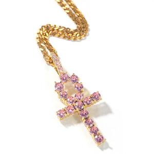 LE BLING KING Ankh Pendentif croix rose Iced zircons Pierres Collier Or Couleur Argent de couleur Mode Hiphop Bijoux