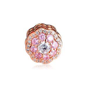 2019 Весна 925 стерлингового серебра ювелирные изделия золото Роза розового цветка шарма шариков Подходит Pandora Браслеты ожерелье для женщин DIY Making