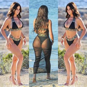 Las mujeres baño bikini traje de baño Sets de secado rápido al aire libre Beachwear Tankinis Cartas Bra Ropa Interior Calzoncillos trajes de baño de diseño cubre sube Bikinis