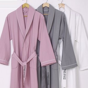 New 100% pure Cotton material plain color bathrobes robe Hotel Unisex pajamas sauna clothes waffle Sleepwear water absorption
