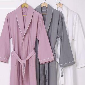 New 100% waffle sauna material robe pure Cotton plain bathrobes Unisex pajamas color clothes Hotel water Sleepwear absorption Orajg