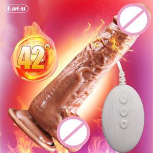 GAGU USB réaliste Godes Vibrator énorme pénis automatique swing chauffage Femme Masturbation Produits pour adultes Sexy Jouets pour les femmes T200520
