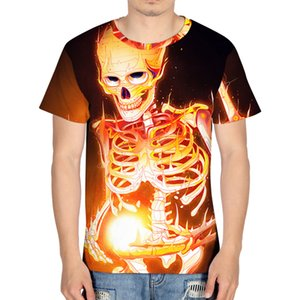 Cool Gothic Hell Flame Skull 3D Printing T-shirt Men Women Fashion Short Sleeve O-Neck Tops Tees Casual Men Clothing Tshirt 2019