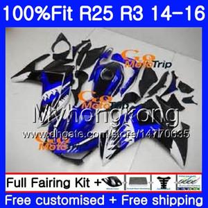 Tubulação de injeção Azul estoque Para YAMAHA YZFR25 YZF R25 R3 2014 2015 2016 2017 240HM.40 YZF-R25 YZF-R3 R 25 Corpo YZFR3 14 15 16 17 kit Carcaças