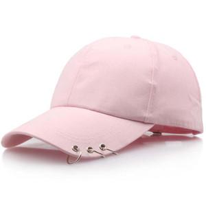 Moda Baseball Anel Ferro Caps Homens Mulheres ajustável Snapback Cap Casquette Chapéus Casual Dad Gorras adultos Chapéus Sólidos