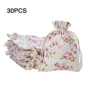30 Pcs Drawstring Adjustable DIY Burlap Bags Party Favour Gift Wedding Natural Packing Candy Jewelry Floral Printed Pouches