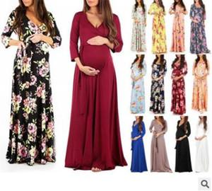 Mode Blumen Mutterschaft Kleidung für die Schwangerschaft Stillen Kleider für schwangere Frauen Mutterschaft Pflegekleid