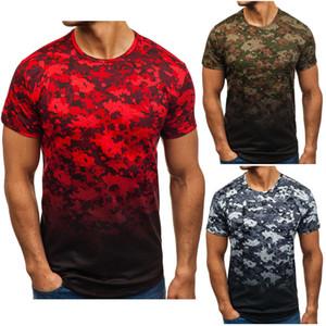 Cool Summer Mens Short Sleeve Camouflage Gradient drucken T-Shirts Slim Fit beiläufige Oberseiten der Kleidung Bodybuilding Muskel-Tees T-Shirts