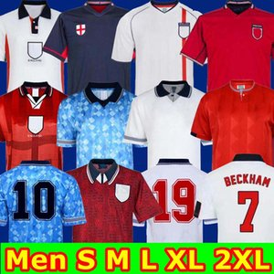 Ретро классический 1982 1994 1998 2002 Чемпионат мира Англия трикотажных изделий футбола дома прочь наборы BECKHAM Гаскойн ОВЕН GERRARD ретро футбол рубашка S 2XL