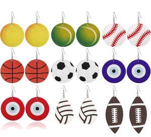 Kadınların Takı GD105 İçin Yeni Spor Yuvarlak PU Deri Küpe Beyzbol Futbol Futbol Basketbol Softbol Evil Mavi Göz Damlası Küpe