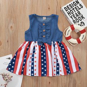 Bebés Meninas Tutu Vestidos Crianças Denim Summer Party Bow INS elegante Stripe Estrela da bandeira americana vestido sem mangas Nova