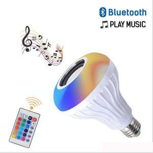 Nueva E27 RGB inteligente altavoz Bluetooth inalámbrico lampada bulbo de música Reproducción regulable LED RGB Bombilla de luz de lámpara Música Con 24 controlador remoto clave