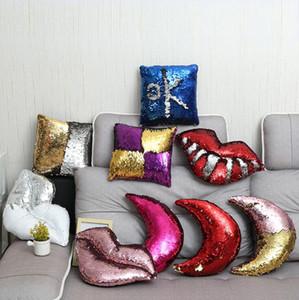 Labbra Paillettes Cuscino 9 stili Mermaid fai da te casa federa Decorazione con inserto che Cambiano Colore Cuscino OOA7030-1