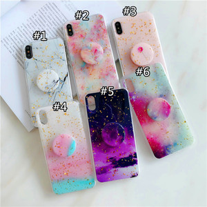 Epoxy Starry Sky Phone Cases Gold Foil Soft Back Cover with Phone Holder for iPhone 11 Pro Max Xr XS Max 7 7plus 8 8plus 6s 6s plus