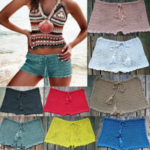 Mulheres Verão Simples Swim Shorts Bikini Swimwear Boy Estilo Curto Crochet Bottoms