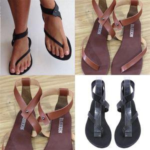 صنادل تو تو للمرأة الصيف شاطئ البحر كود كبير فلاتي جلد بني أسود شعبية في الهواء الطلق حذاء مسطح 28sl D1