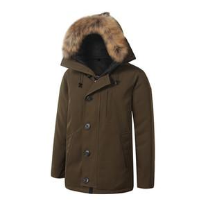 Kanada Chateaus Marka Erkek Veste Homme Açık Kış Jassen Giyim Büyük Kürk Kapüşonlu Fourrure Manteau Aşağı Ceket Ceket Hiver Parka Doudoune