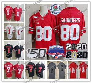 2020 Campeão remendo Ohio State Buckeyes 150º personalizado costurado Red Preto branco # 80 Saunders 14 KJ Colina Jr. 17 Chris Olave NCAA Jersey