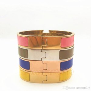 12mm Breite 316L Titan Stahl Damenmode stieg Gold-Silber-h-Stulpe BraceletsBangles Armband Emaillefarbenarmband