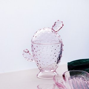 Cactus Candler Soap Dish Tray Creative Pink Crystal Glass Jewelry Storage Cans Durable Desktop Organization Container