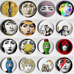 Renkli 8 İnç Vintage Fornasetti Tabaklar Nordic Ana Studio Hotel Bar Dekoratif Arkaplan Wall Art Craft Yemekleri Ev Dekorasyonu Asma