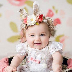 Europa caliente infantil del bebé diadema Abrazadera conejito flor de la corona del bebé flor de la corona fotografía apoya la venda del pelo accesorio del pelo 14509