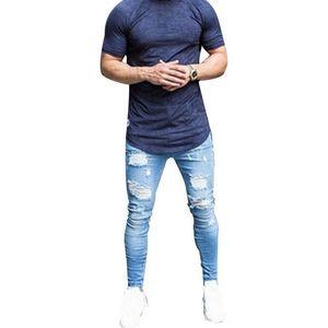 Oeak Skinny Blue Jeans Men Autumn Vintage Denim Pencil Pants Casual Stretch Trousers 2019 Sexy Hole Ripped Male Zipper Jeans 3XL