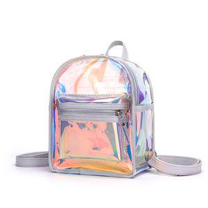 여자 미니 여행 젤리 배낭 10 대 소녀를위한 PVC 투명한 어깨 가방 레이저 작은 배낭 지갑 취소 팩