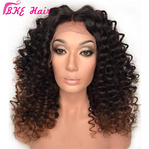Afro Kinky завитого парик Ombre Браун синтетического парик фронт шнурок Природных черные волосы для женщин жаропрочного Hairs