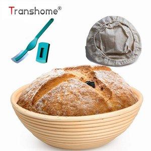 Transhome 3PCS ovale / rotondo Banneton Bread Basket Rattan correzione Cestino con coperchio a lievito naturale Cestino Pane Arc curvo taglierino Y200612