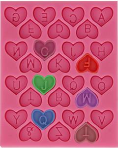 Высокое качество New Heart Shape Design письмо Шоколадные конфеты Силикон Mold Дети День рождения торты украшения Сахар Craft Выпечка Инструменты