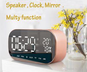 Pantalla LED Mini nueva multifunción Tabla despertador digital de temperatura Reloj Bluetooth Wireless Speaker reloj con la tarjeta del TF FM Espejo de aumento