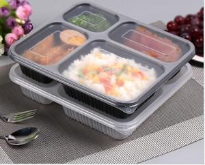 1000ml Одноразовая PP Food Box 4 отсеками Square быстрого приготовления кормушке Контейнеры для хранения с крышкой Вынимают Обед Bento Box в микроволновой печи