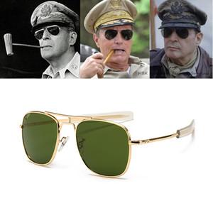 Lente del vidrio óptico manera de la vendimia de Aviación AO gafas de sol de diseñador de los hombres de lujo de la marca de fábrica Gafas de sol para el Ejército del Hombre Americano Militar