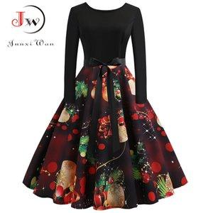 Noel Elbise Vestidos Kadınlar Zarif Vintage Elbise Uzun Kollu Kış Parti Elbiseler Rahat Baskı Retro Rockabilly Salıncak Y19012201